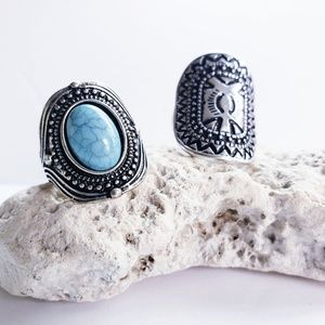 Silver SouthWest Style Rings (2 Rings) Turquoise